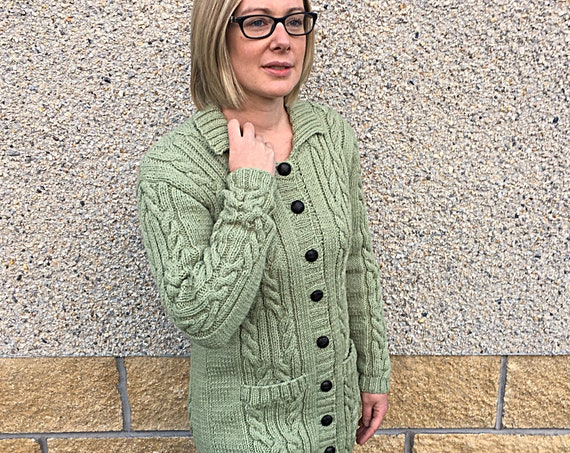 Hand Knitted Long Cardigan In Pure Wool-Autumn/Winter/Spring Cardigan With Two Pockets And Collar-Green Cardigan-Hand Knitted Woman's Jacket