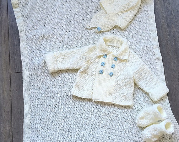 Made To Order Hand Knitted Matching Set For A Baby Boy- A Blanket, Helmet, Jacket And Bootees -3 sizes available-Ornate Baby Buttons