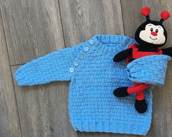 Hand Knitted Baby Jumper - Blue Baby Sweater - Age 6 - 12 months - Easy Fastening Jumper - Baby Boy Gifts