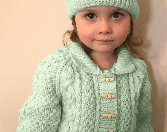 Made to Order Hand Knitted Cable Pattern Child's Jacket and Matching Pom Pom Hat- Jacket And Hat-Child's Matching Set Hat and Jacket