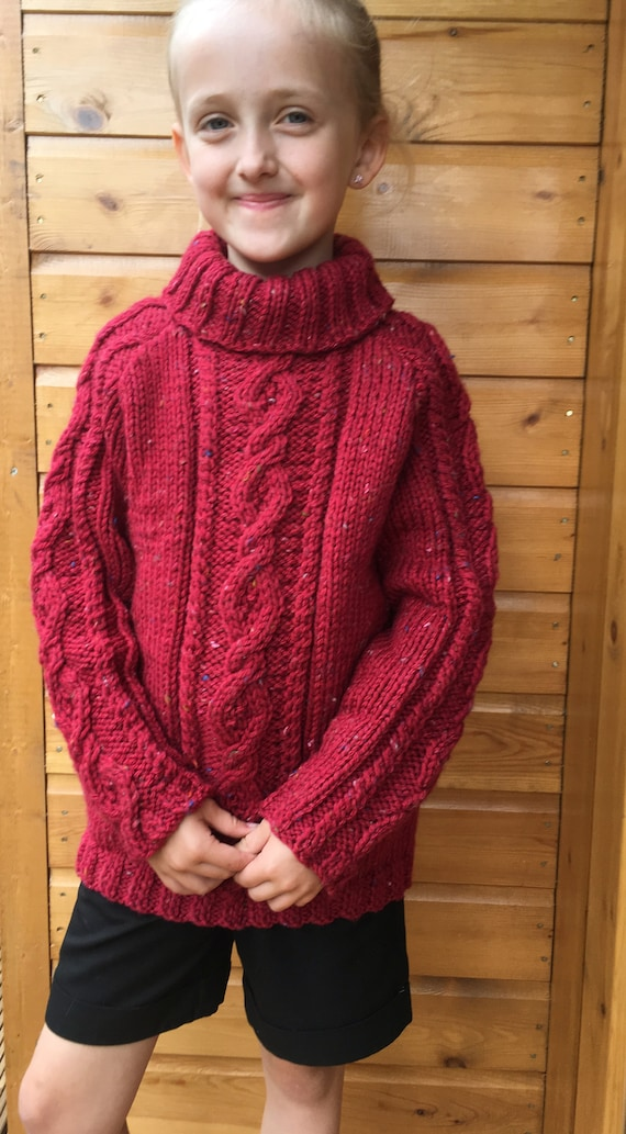 Child's Hand Knitted Chunky Knit Cable Design Jumper with Cowl Collar to Fit age 7 - 8 years - Winter Jumper - Christmas Gift