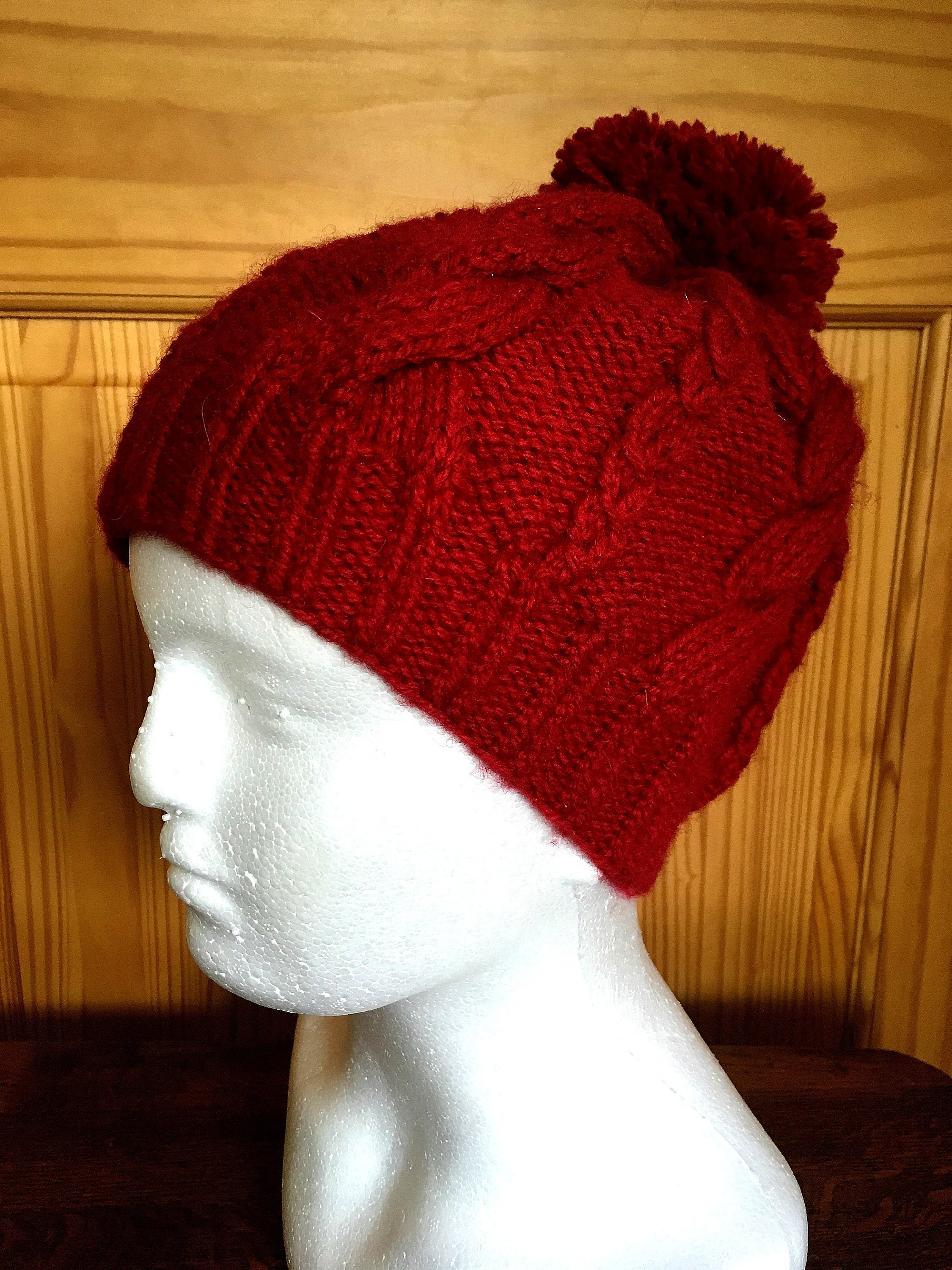 6eba0d86a20 Hand Knitted Women s Beanie Hat-Hand Knitted Cable Pattern