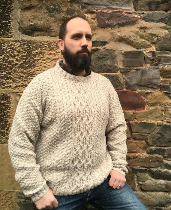 Mano degli uomini a maglia maglioni di lana Aran maglione Crew collo maglione di lana girocollo Jumper MansJumper uomo Aran organici lana