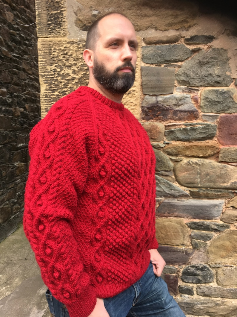 c1f35c61476dd Hand Knitted Aran Wool Sweater Ready to Wear-Red Jumper-Cable