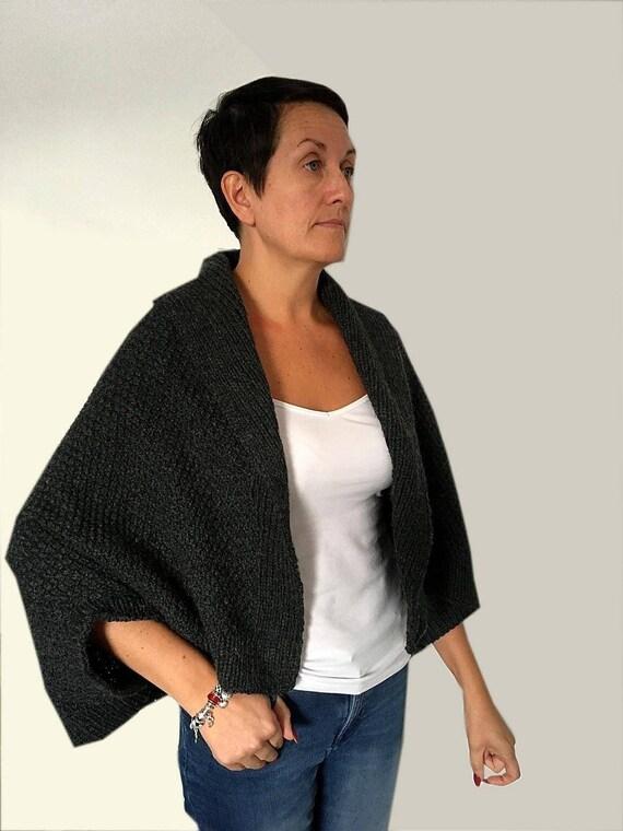 Made To Order -Grey Pure Wool Shrug-Loose Fitting Bohemian Shrug-Handmade Knitted Shrug-Edge To Edge Shrug- Spring/Autumn/Winter ShrugShrug