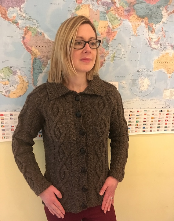 Hand Knitted Woman's Organic Scottish Aran Wool Cardigan-Cable Design Knitted Cardigan-Fisherman's Pattern Cardigan-Aran Weight Cardigan
