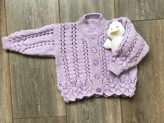 Hand Knitted Girl's Lavender Lace Pattern Cardigan- Age 12-18 months-Girl's Knitwear-Toddler Cardigan-Gift for Girl