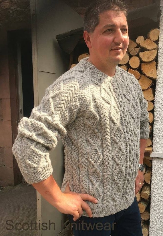 Made To Order Hand Knitted Traditional Pure Scottish Aran Wool Sweater