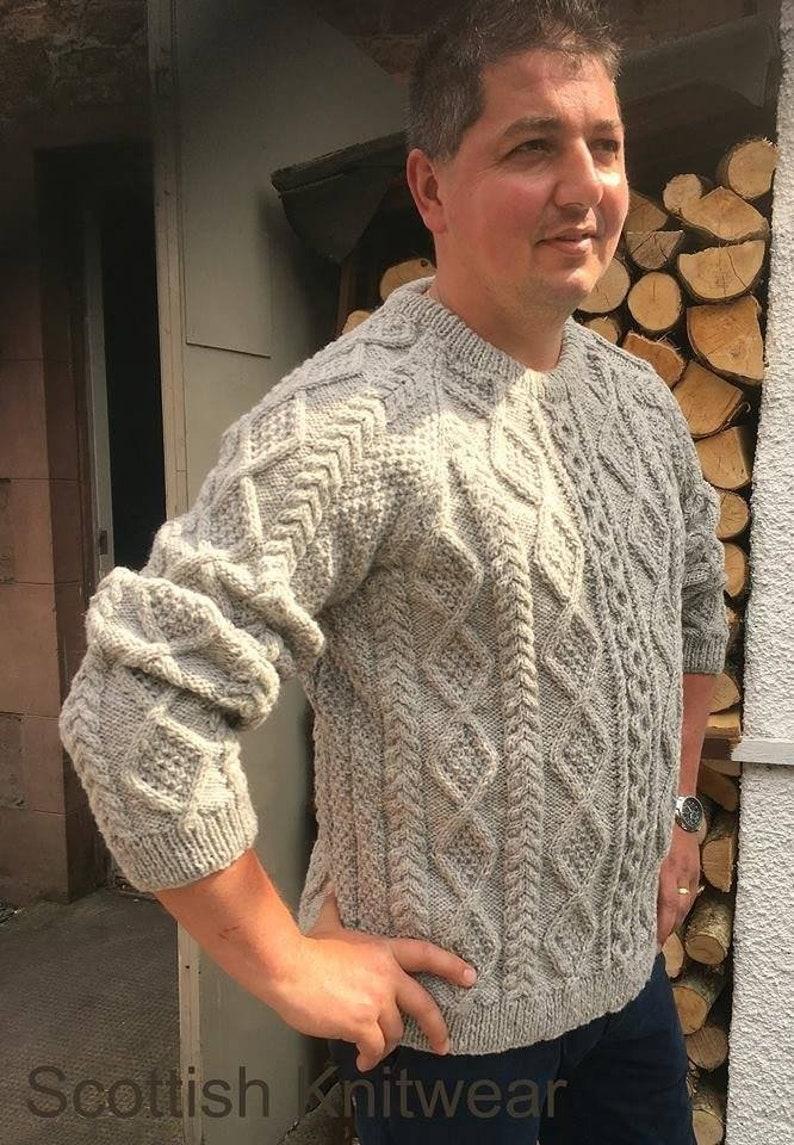 08731610b034ad Man s Hand Knitted Organic Aran Wool Sweater-Fishermans