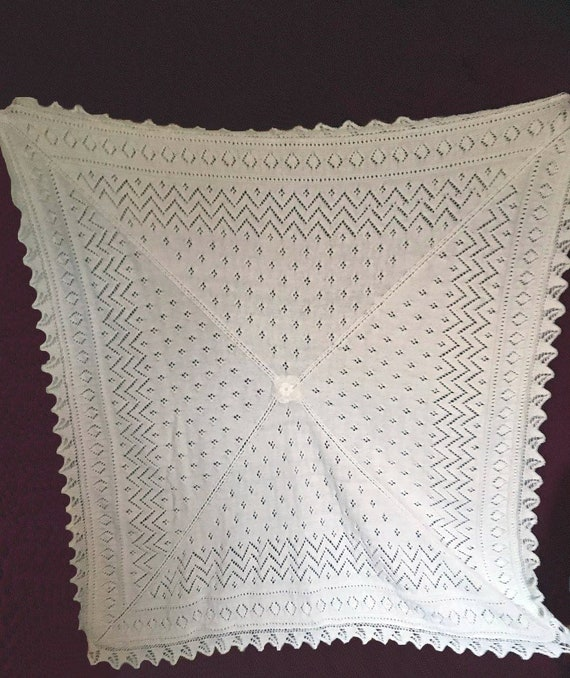 Hand Knitted Baby Shawl-Knitted Lace Shawl-White Baby Shawl Shawl-Baby Girl Shawl-Baby Boy Shawl-Large Shawl-Baby Blanket-Baby Wrap