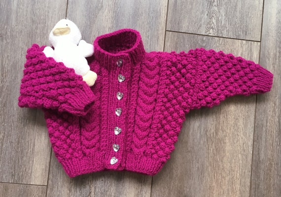 Hand Knitted Baby Girl Cardigan-Cerise Cardigan-Baby Girl Pullover-Cardigan for 9-12 months-Baby Clothes