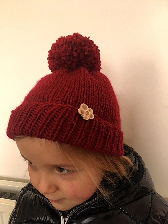Girl's Hand Knitted Red Bobble Hat-Chunky Yarn Girl's Beanie Hat-Girl's Pom Pom Hat-Winter Hat-Age 3-4 years-Gift Ideas For Girl's-Toque Hat