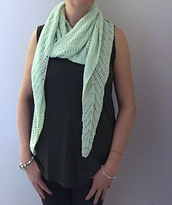 Hand Knitted 100% Cotton Lace Knit Spring Green Scarf/Wrap/Shawl- Woman's Accessory-Lightweight Scarf-Party-Party Clothing-Day/Evening Scarf