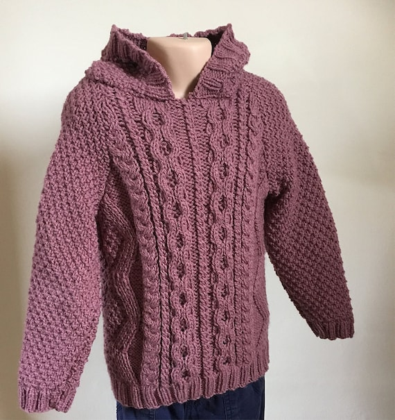 Hand Knitted Girl's Hoodie -,Cable Pattern Hooded Jumper-Fit 3 -4 years-Cable Pattern Hooded Jumper-Children's Knitwear