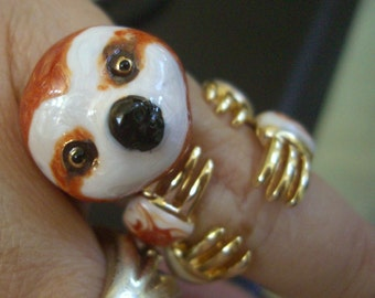 SALE!!BABY SLOTH ring. Hand enameled. 3 piece set. Free shipping! So cute!