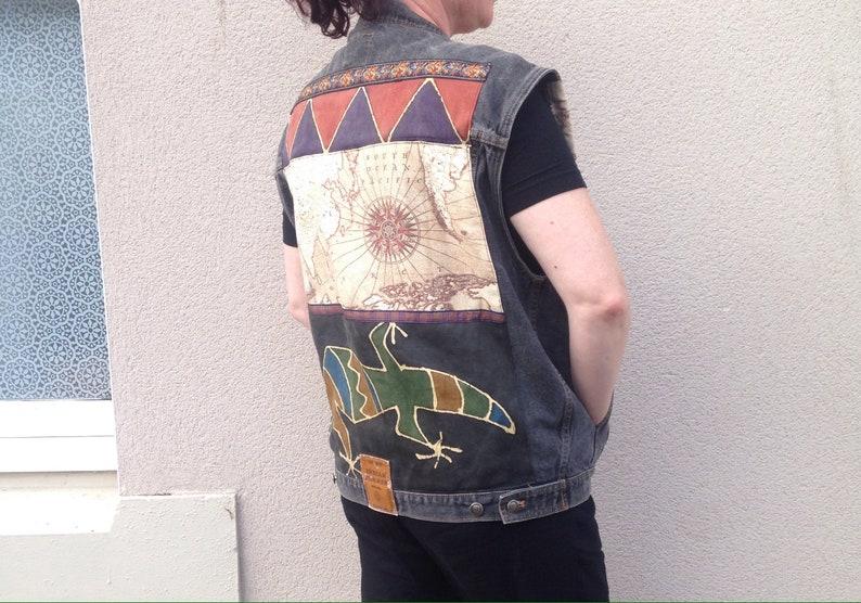Reworked 90s denim  vintage jacket patchwork embelish up cycled custom distressed waistcoat vest  UK seller