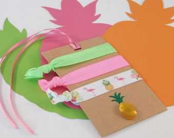 Flamingo Hair Ties - Pineapple Hair Ties - Summer Party Favors - Gifts for Girls - Tropical Party - Neon Green - Neon Pink - Bachelorette