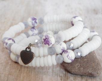 White Purple Bracelet, Heart Charm Bracelet, Beaded Bracelet, Memory Wire, 3 Layers, Purple Flowers, Gift for Her, Gift Under 20, Jewelry
