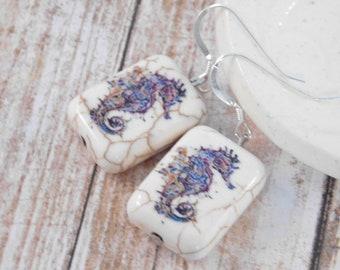 Purple Seahorse Earrings, Bead Earrings, Nautical Jewelry, Gift under 10, Handmade, Beach Earrings, Vacation Jewelry, Dangle Earrings, Gifts