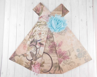 Origami Dress, Large Paper Dress, French Theme, Destash Supply, Paper Crafts, Scrapbooking, Craft Supply, Floral Paper Dress, Art Supplies
