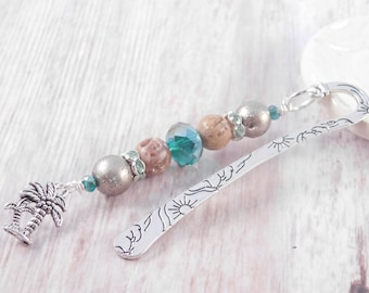 Palm Tree Bookmark, Tropical Gift, Readers, Book Lovers, Gift for Her, Gift Under 15, Beach Theme, Vacation Bookmark, Mini Metal, Beaded