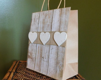 Rustic Heart Gift Bag - Burlap Gift Bag - All Occasion Gift Bag - Bridesmaid Gift Bag - Wedding Gift Bag - Bag with Handles - Decorated Bag