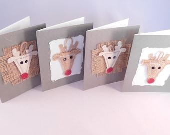 Reindeer Cards - Stationary Set - Christmas Cards - Holiday Cards - Handmade - Blank Inside