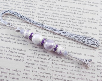 Paris Bookmark, Eiffel Tower, French Theme, Book Lovers Gift, Handmade, Gift for Her, Gift Under 15, Metal, Purple Beads, Silver, Books