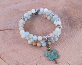Butterfly Wrap Bracelet - Beaded Charm Bracelet - Pastel Colors - Spring Gift Idea