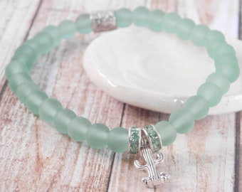Cactus Anklet, Ankle Bracelet, Southwest, Green, Stretch Anklet, Handmade, Cactus Gift, Gift for Her, Sea Glass Beads, Arizona Theme, Anklet