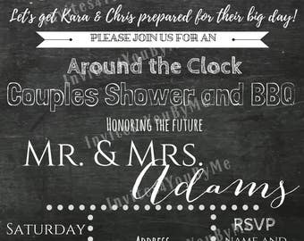 couples shower, wedding invitation, around the clock shower