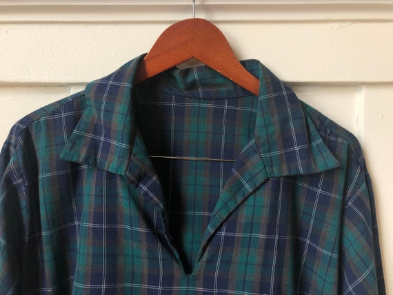 70 ' s bleu/vert à carreaux fait main Tshirt Tshirt Tshirt taille M / L 5d5c1e