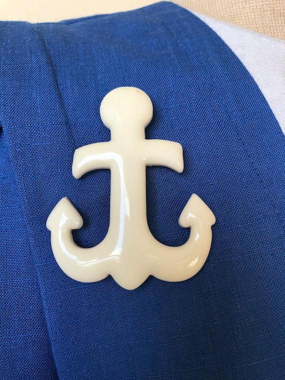 White Nautical Anchor Brooch