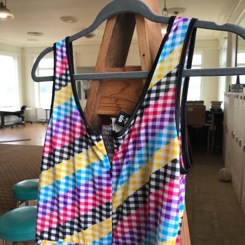 size Small Rainbow CheckeredBlack Fitted Peplum Dress 80/'s tight fitting