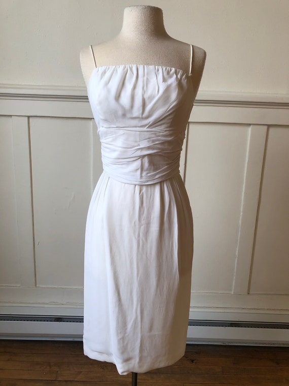 70s White Formal Dress  *as is*