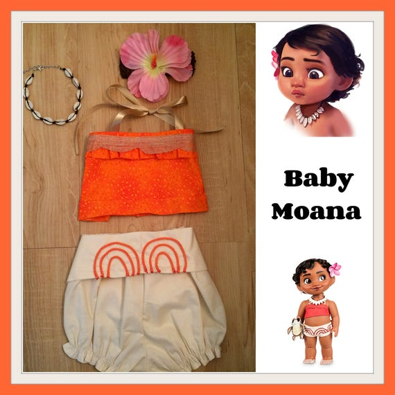 7b3007c5d61d6 Baby Moana costume, Baby Moana bloomer and top, Baby Moana outfit,