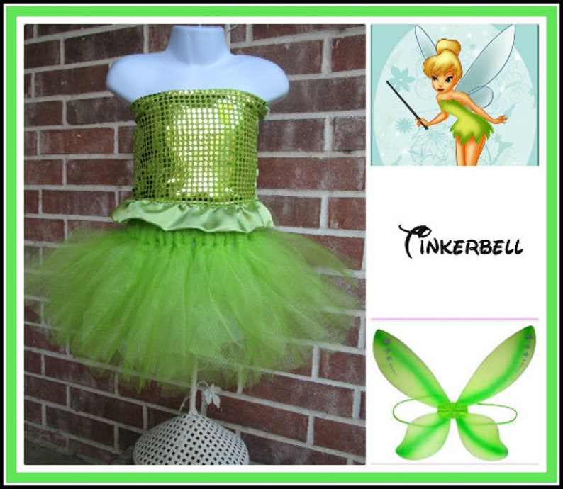 Tinkerbell Fairy costume Fairy dress up birthday party tutu outfit with wings Tinkerbell cosplay petal skirt Toddler Tinkerbell
