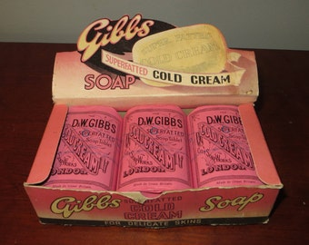 Gibbs Cold Cream Soap Box Bars Vintage Super Fatted London