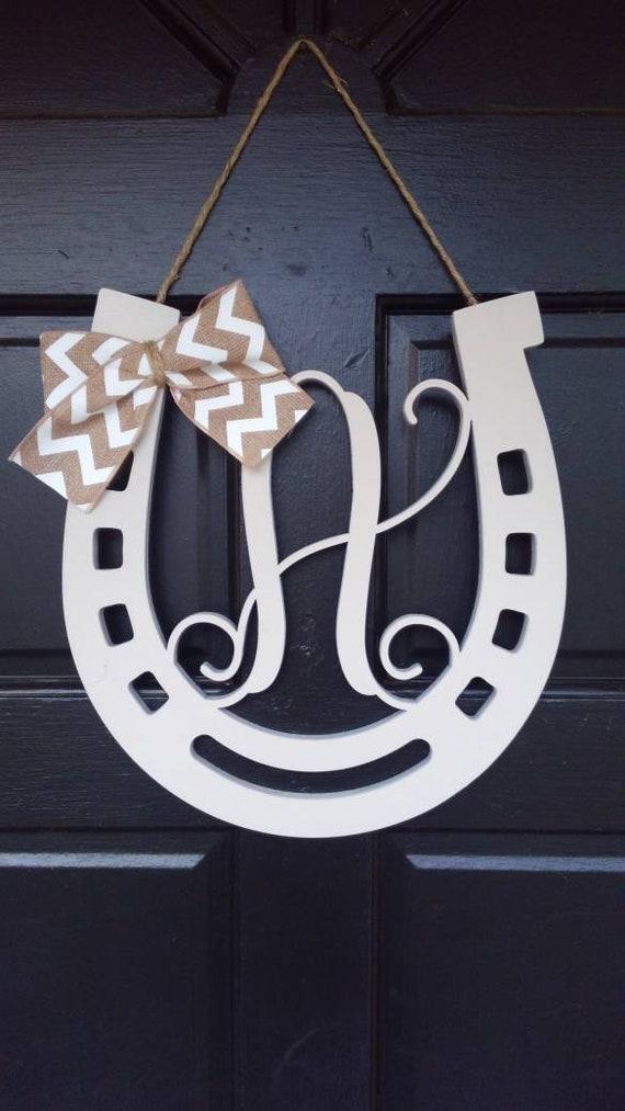 Laser Cut Wood Horse Shoe With Monogram