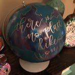 RESERVED ****** for Carey | custom handpainted globe with wizard of oz handlettered silver embossed quote