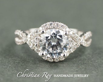 Round Cut Diamond Simulant Engagement Ring - Sterling Silver CZ Cubic Zirconia (#CRRMR093SS)