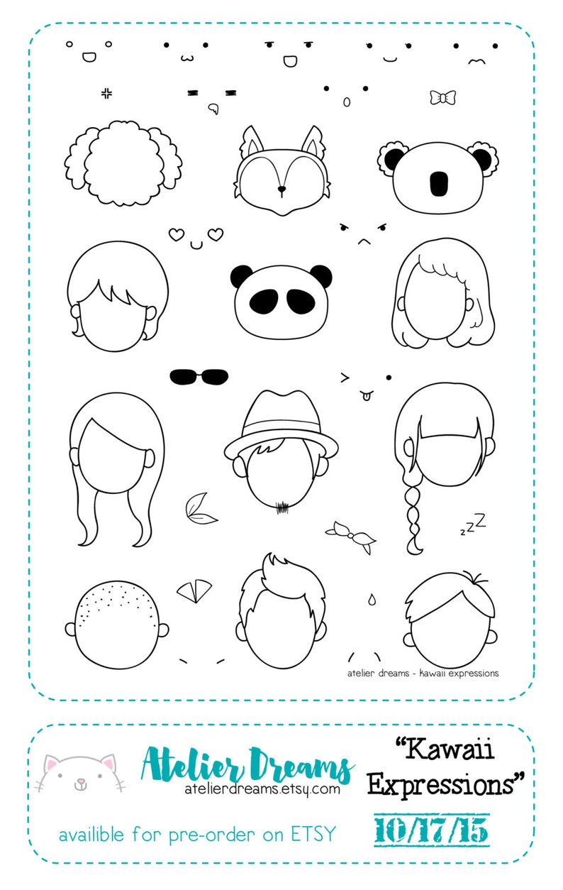 f937123dbc8ce Retiring AD-008 KAWAII EXPRESSIONS - Planner Stamps (Photopolymer Clear  Stamps) emoji stamps, kawaii stamps, clear stamps, daily stamps