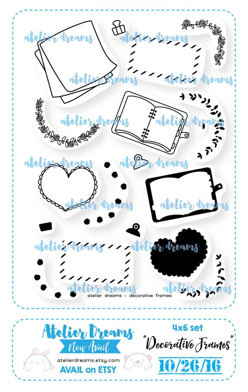 19a7cce9ad6bd Retiring AD-041 DECORATIVE FRAMES - 4X6 - Photopolymer Planner Stamps -  planner stamp, floral border, heart frame, mail stamp