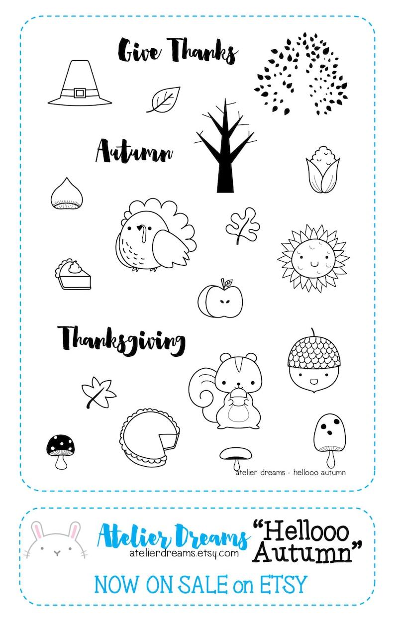 3dfb3e62f3b85 Retiring AD-905 HELLOOO AUTUMN - Planner Stamps (Photopolymer Clear Stamps)  squirrel, turkey stamp, corn, pie, acorn, sunflower, tree stamp