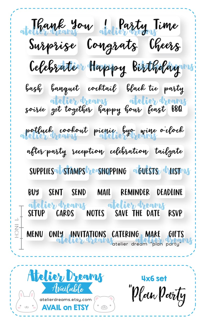 b1c89b256e6d9 Retiring AD-048 PLAN PARTY - Planner Stamps (Photopolymer Clear Stamps)  Hobonichi Stamp, Filofax Stamp