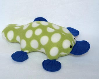 Green Polka Dot Plush Platypus - original design - handmade platypus toy - soft plypus - stuffed animal - stuffed toy - holiday toys