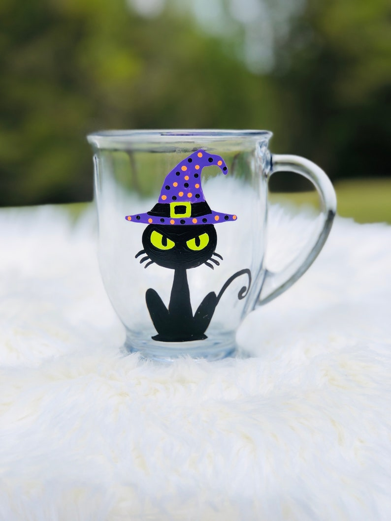 Halloween Black Cat coffee mug/Halloween coffee mugs/Black Cat image 0