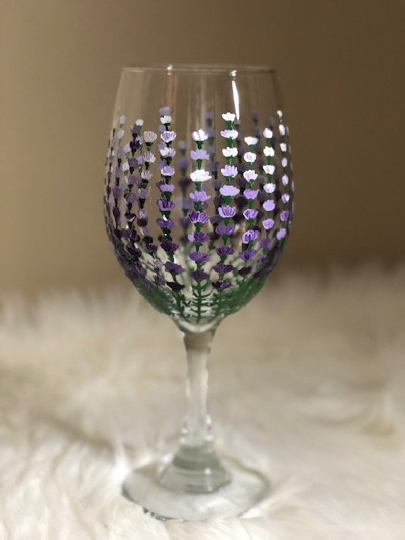 Lavender hand-painted wine glass/flower wine glass/spring wine image 0