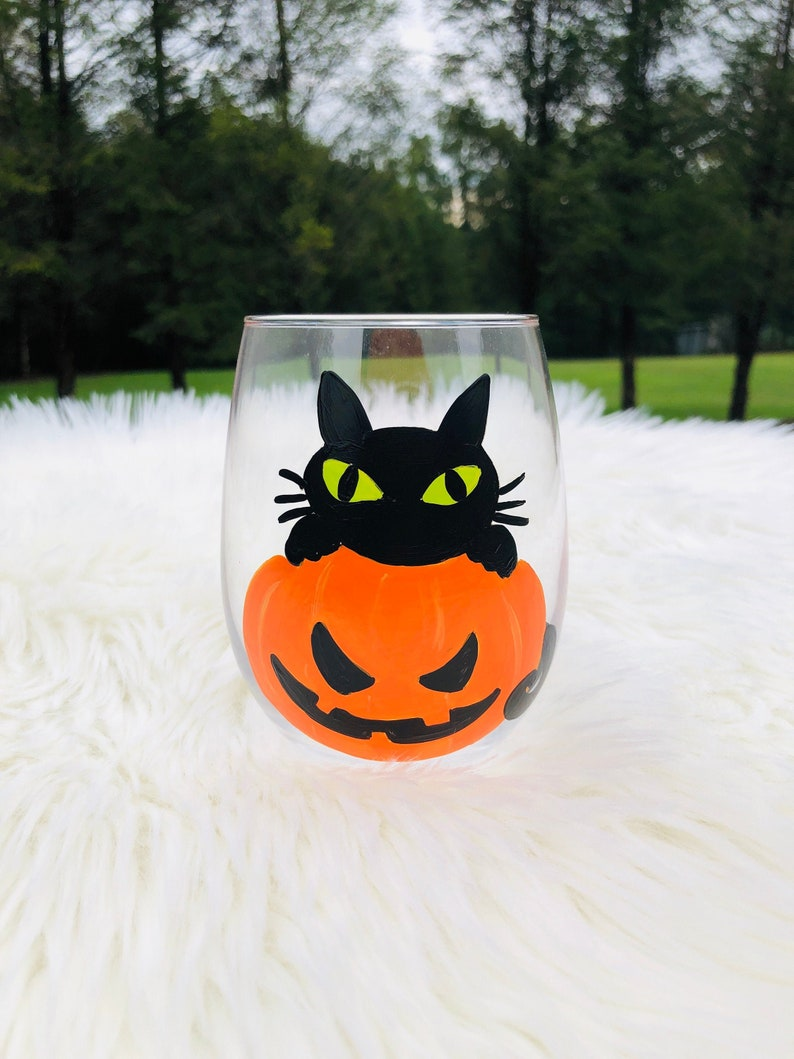 Halloween Black Cat in a Pumpkin hand-painted wine image 0