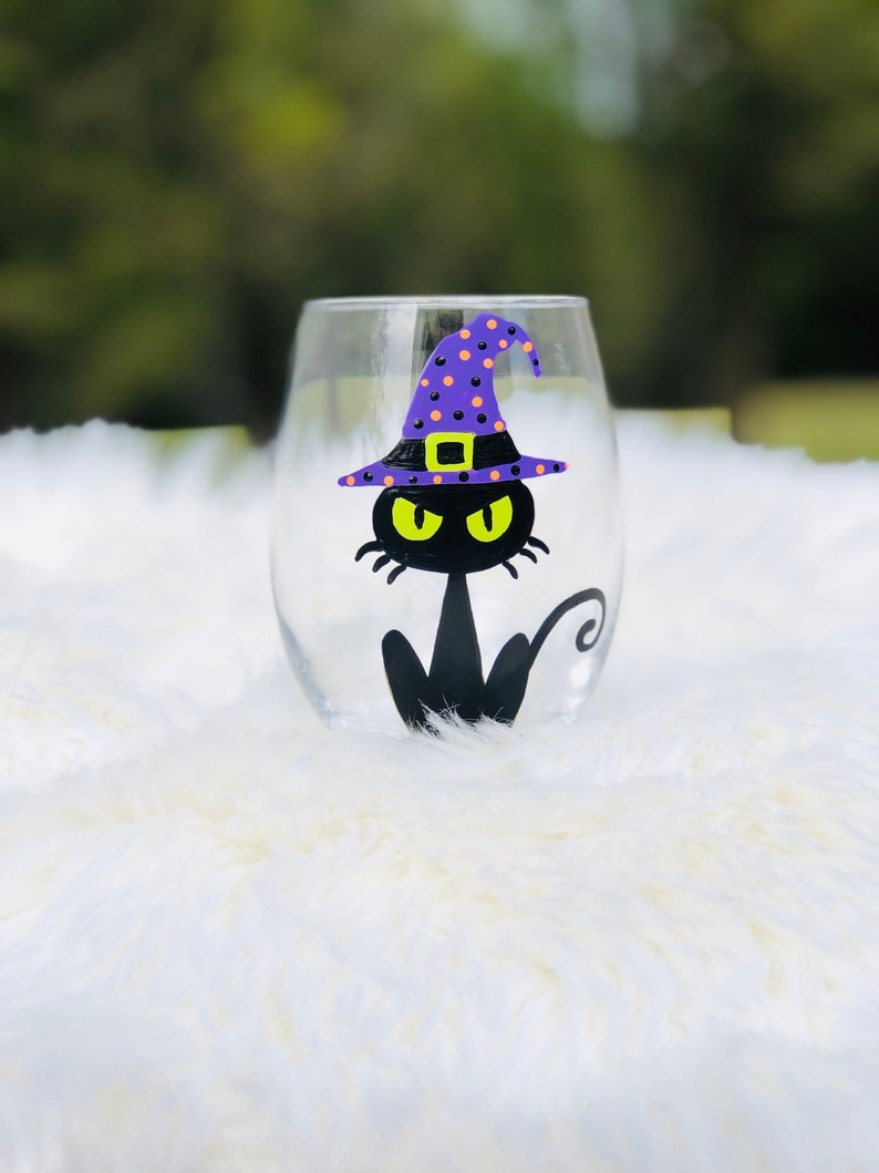 Halloween Black Cat hand-painted stemless wine glass/Halloween image 0
